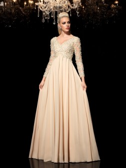 A-Line/Princess V-neck Applique Long Sleeves Floor-Length Chiffon Dresses