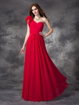 A-line/Princess One-Shoulder Hand-Made Flower Sleeveless Floor-length Chiffon Dresses