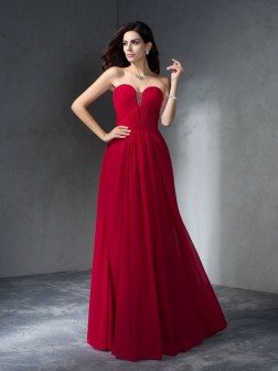 A-Line/Princess Sweetheart Pleats Sleeveless Floor-Length Chiffon Dresses