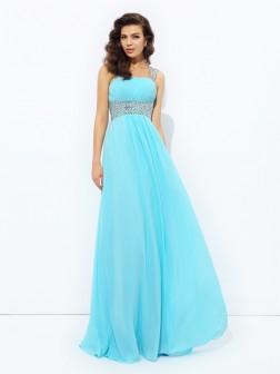 A-line/Princess Straps Sequin Sleeveless Floor-Length Chiffon Dresses