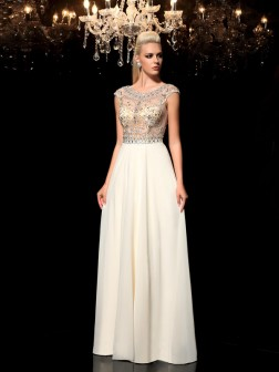 A-Line/Princess Sheer Neck Rhinestone Sleeveless Floor-Length Chiffon Dresses