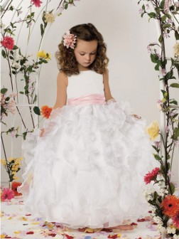 A-line/Princess Scoop Sleeveless Floor-length Organza Flower Girl Dresses