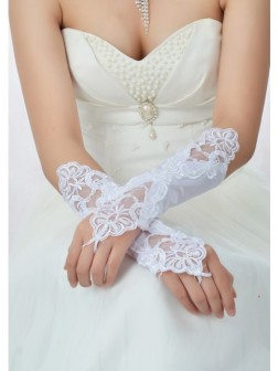 Beading Lace Satin Wedding Gloves