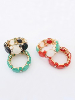 Occident Sweet all-match Gemstone Elastic force Bracelets