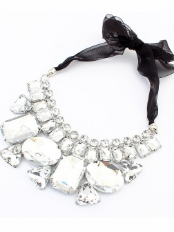 Occident Trendy Major suit Gemstone Ribbons Necklace