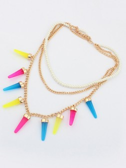 Occident Hyperbolic Candy colors Multi-layered Conical Necklace