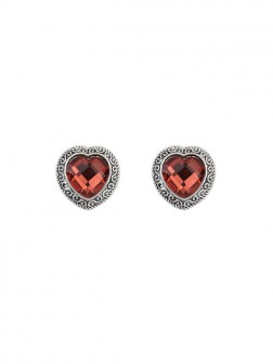 Occident Retro Heart Gemstone Boutique Stud Earrings