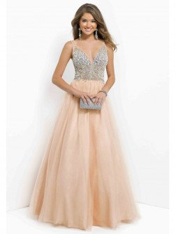 V-neck Sleeveless Beading Sequin Ball Gown Tulle Floor-length Prom Dress