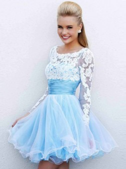 A-Line/Princess Scoop Long Sleeves Applique Tulle Short/Mini Dresses