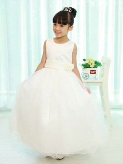 A-line/Princess Scoop Sleeveless Sash/Ribbon/Belt Floor-length Organza Flower Girl Dresses