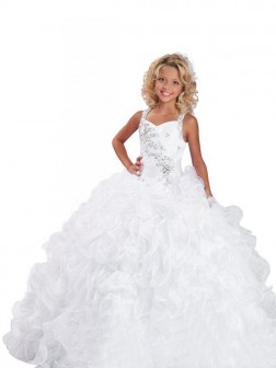 Ball Gown Straps Sleeveless Beading Floor-length Organza Flower Girl Dresses