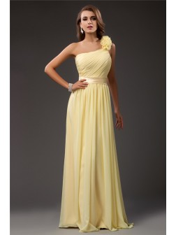 Sheath/Column One Shoulder Ruffles Floor-length Sleeveless Chiffon Dresses