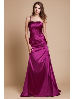 A-Line/Princess One Shoulder Sleeveless Beading Floor-length Elastic Woven Satin Dresses
