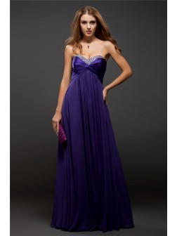 Sheath/Column Sweetheart Beading Sleeveless Floor-length Chiffon Dresses