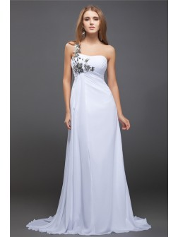 A-Line/Princess One-Shoulder Sequin Lace Sleeveless Sweep/Brush Train Chiffon Dresses
