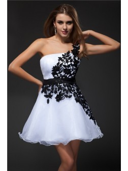 Empire Strapless Applique Sleeveless Short/Mini Organza Cocktail Dresses Homecoming Dresses