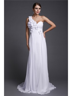 A-Line/Princess One Shoulder Hand-Made Flower Sweep/Brush Train Sleeveless Chiffon Dresses