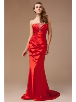 Trumpet/Mermaid Strapless Beading Sweep/Brush Train Sleeveless Taffeta Dresses