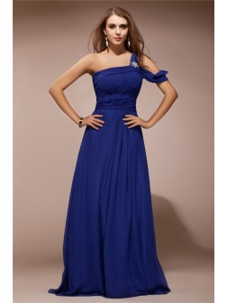 Sheath/Column One Shoulder Ruffles Rhinestone Sleeveless Floor-length Chiffon Dresses