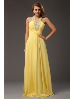 Sheath/Column Halter Beading Sleeveless Floor-length Chiffon Dresses