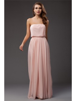 Sheath/Column Strapless Sleeveless Floor-length Ruffles Chiffon Dresses