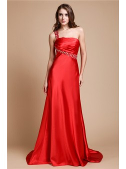A-Line/Princess One Shoulder Beading Sleeveless Sweep/Brush Train Elastic Woven Satin Dresses