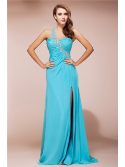 Sheath/Column One Shoulder Beading Sleeveless Slit Sweep/Brush Train Chiffon Dresses