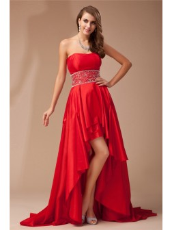 A-Line/Princess Strapless Asymmetrical Beading Sleeveless Taffeta Dresses