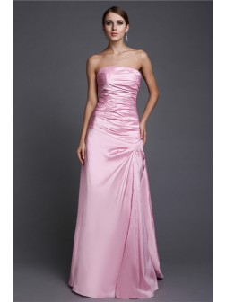 A-Line/Princess Strapless Floor-Length Beading Elastic Woven Satin Prom Dresses