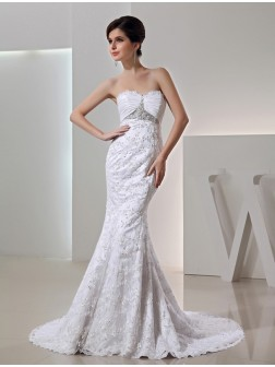 Trumpet/Mermaid Beading Sweetheart Sleeveless Court Train Taffeta Wedding Dresses