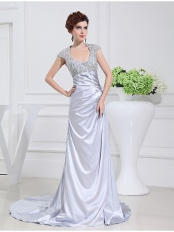 A-Line/Princess Scoop Sweep/Brush Train Beading Lace Elastic Woven Satin Dresses