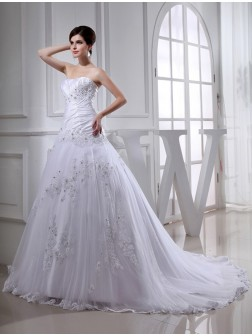 A-Line/Princess Beading Chapel Train Sleeveless Strapless Tulle Taffeta Wedding Dresses