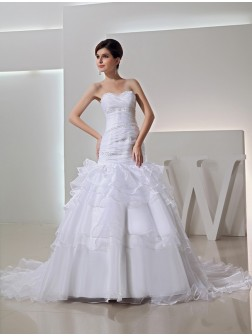 Trumpet/Mermaid Beading Sweetheart Chapel Train Organza Wedding Dresses