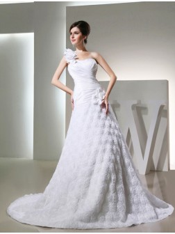 A-Line/Princess One-shoulder Sleeveless Taffeta Hand-made Flowers Cathedral Train Wedding Dresses