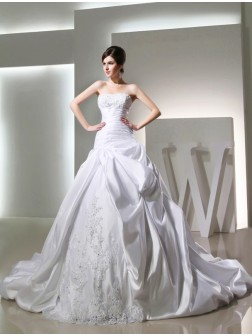 Ball Gown Beading Chapel Train Satin Strapless Sleeveless Wedding Dresses