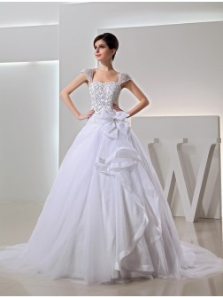 Beading Chapel Train Ball Gown Embroidery Organza Bowknot Wedding Dresses