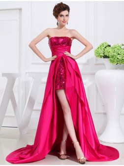 A-Line/Princess Asymmetrical Applique Strapless Sleeveless Taffeta Dresses