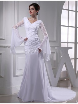 Trumpet/Mermaid Beading V-neck Chiffon Chapel Train Wedding Dresses