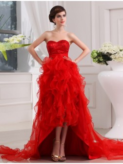 A-Line/Princess Sequin Sweetheart Sleeveless Asymmetrical Organza Dresses