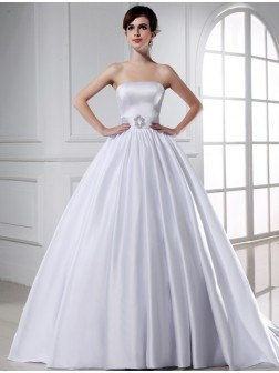 Ball Gown Beading Strapless Sleeveless Chapel Train Satin Wedding Dresses