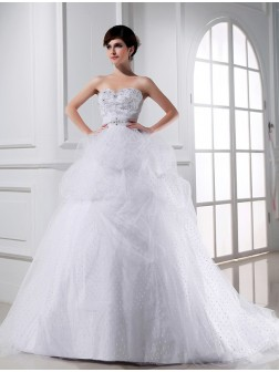 Ball Gown Beading Sweetheart Sleeveless Applique Satin Tulle Wedding Dresses