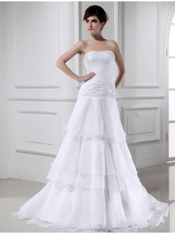 A-Line/Princess Beading Sleeveless Organza Strapless Court Train Wedding Dresses
