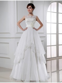 A-Line/Princess Beading Sleeveless Floor-length Lace Organza Wedding Dresses