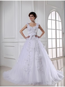 Ball Gown Beading Chapel Train Satin Tulle Strapless Sleeveless Wedding Dresses