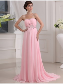 A-Line/Princess Beading Sleeveless Strapless Sweep/Brush Train Chiffon Dresses