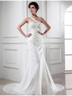 Trumpet/Mermaid Beading One-shoulder Sleeveless Lace Satin Chapel Train Wedding Dresses