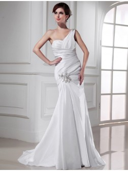 Trumpet/Mermaid One-shoulder Beading Satin Sleeveless Sweep/Brush Train Wedding Dresses