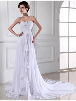 Sheath/Column Hand-made Flower Sweetheart Sleeveless Chiffon Chapel Train Wedding Dresses