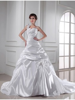 A-Line/Princess One-shoulder Sweetheart Sleeveless Chapel Train Pleats Elastic Woven Satin Wedding Dresses