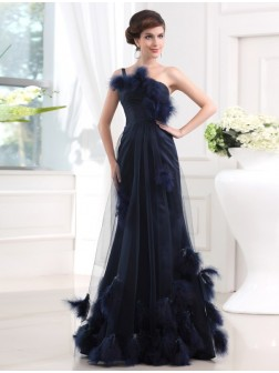 Trumpet/Mermaid One-shoulder Sleeveless Floor-length Satin Tulle Feathers/Fur Dresses